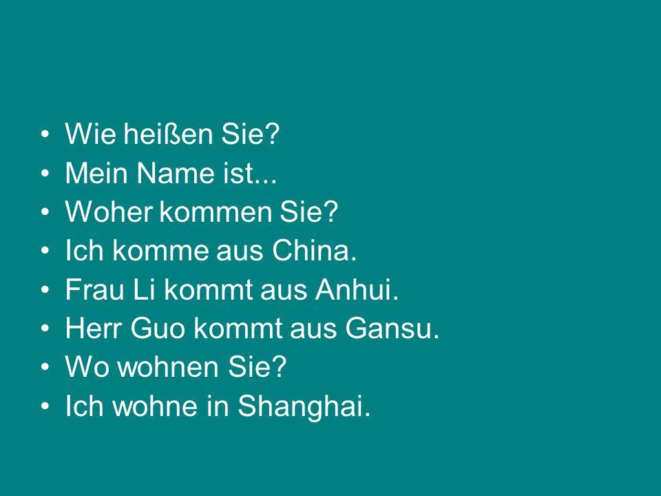 Wie heißen Sie? Mein Name ist... Woher kommen Sie? Ich komme aus China. Frau Li kommt aus Anhui. Herr Guo kommt aus Gansu. Wo wohnen Sie? Ich wohne in