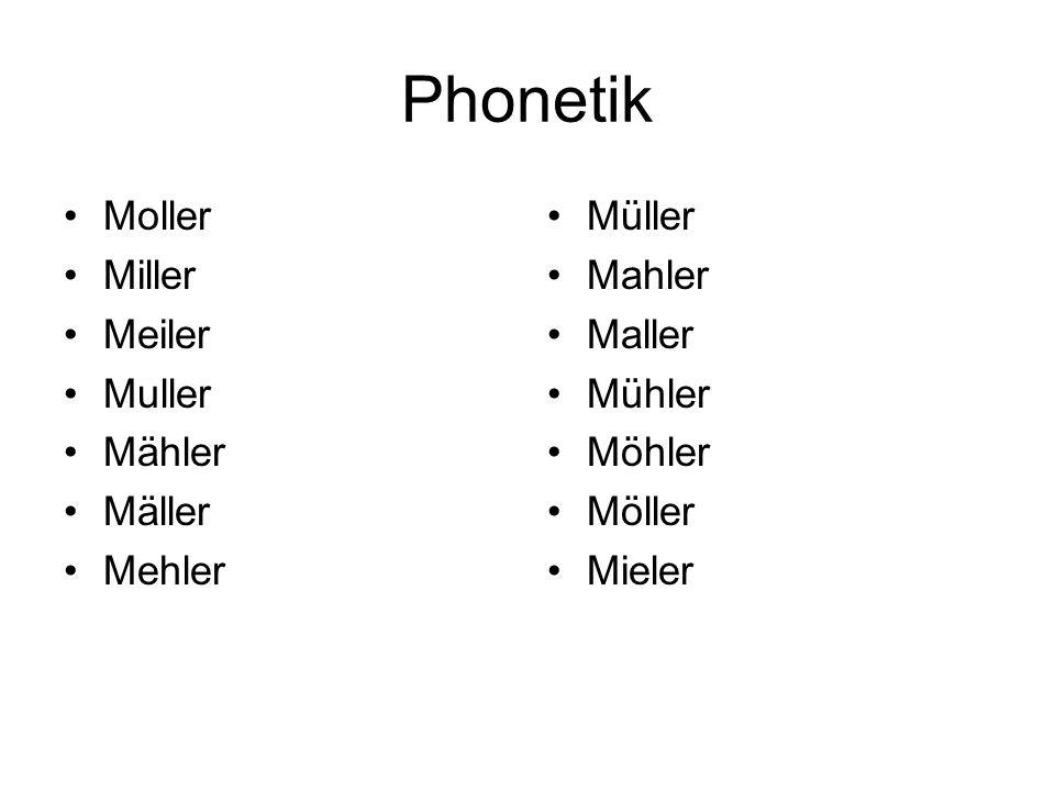 Phonetik Moller Miller Meiler Muller Mähler Mäller Mehler Müller Mahler Maller Mühler Möhler Möller Mieler