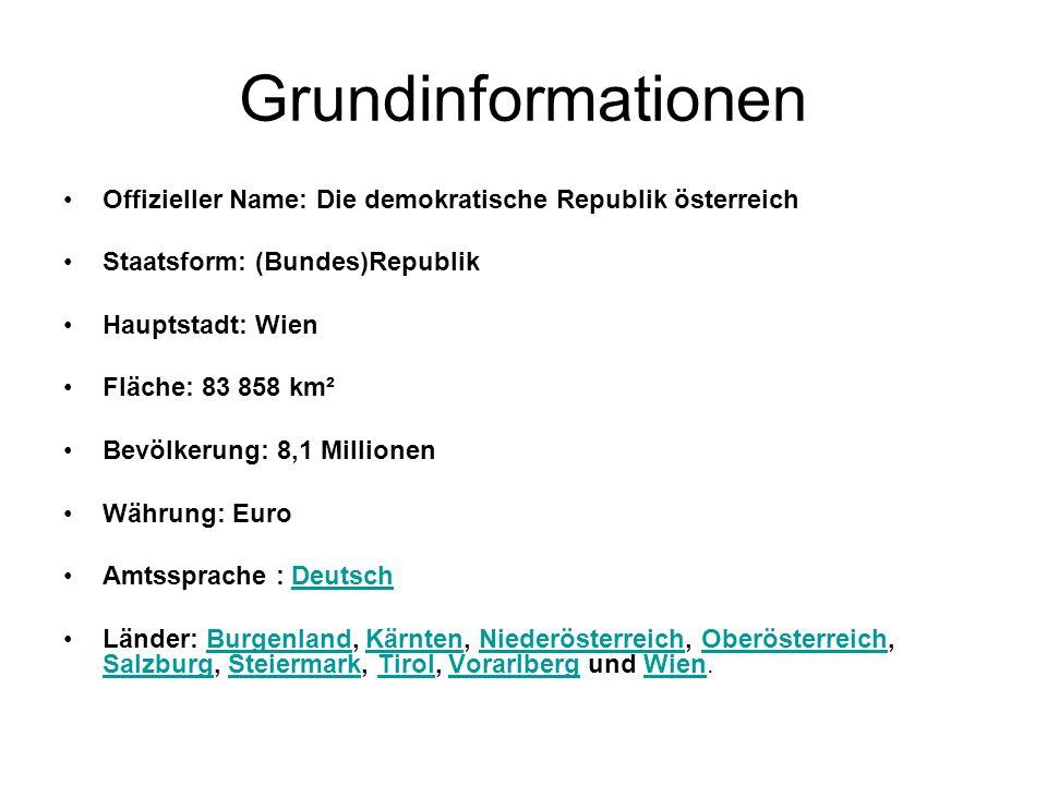 Grundinformationen Offizieller Name: Die demokratische Republik österreich Staatsform: (Bundes)Republik Hauptstadt: Wien Fläche: 83 858 km² Bevölkerun