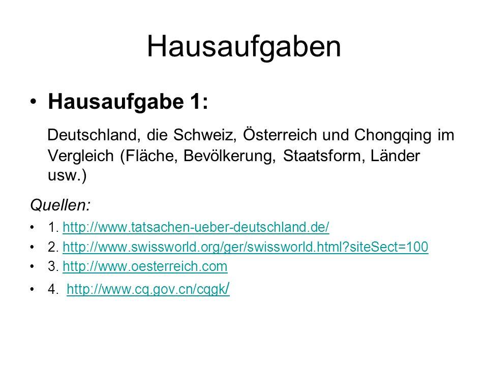 Hausaufgaben Hausaufgabe 1: Deutschland, die Schweiz, Österreich und Chongqing im Vergleich (Fläche, Bevölkerung, Staatsform, Länder usw.) Quellen: 1.