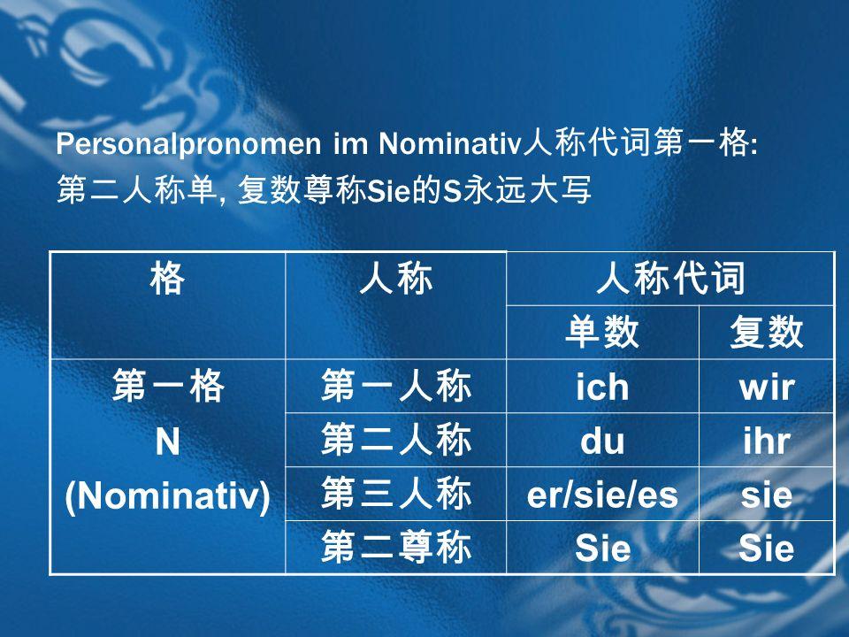 Personalpronomen im Nominativ :, Sie S N (Nominativ) ichwir duihr er/sie/essie Sie