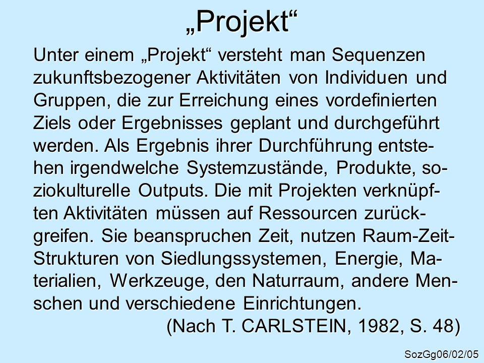 Projekt SozGg06/02/05 Unter einem Projekt versteht man Sequenzen zukunftsbezogener Aktivitäten von Individuen und Gruppen, die zur Erreichung eines vo