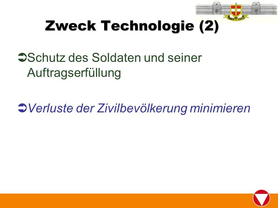 Zweck Technologie (2) Schutz des Soldaten und seiner Auftragserfüllung Verluste der Zivilbevölkerung minimieren