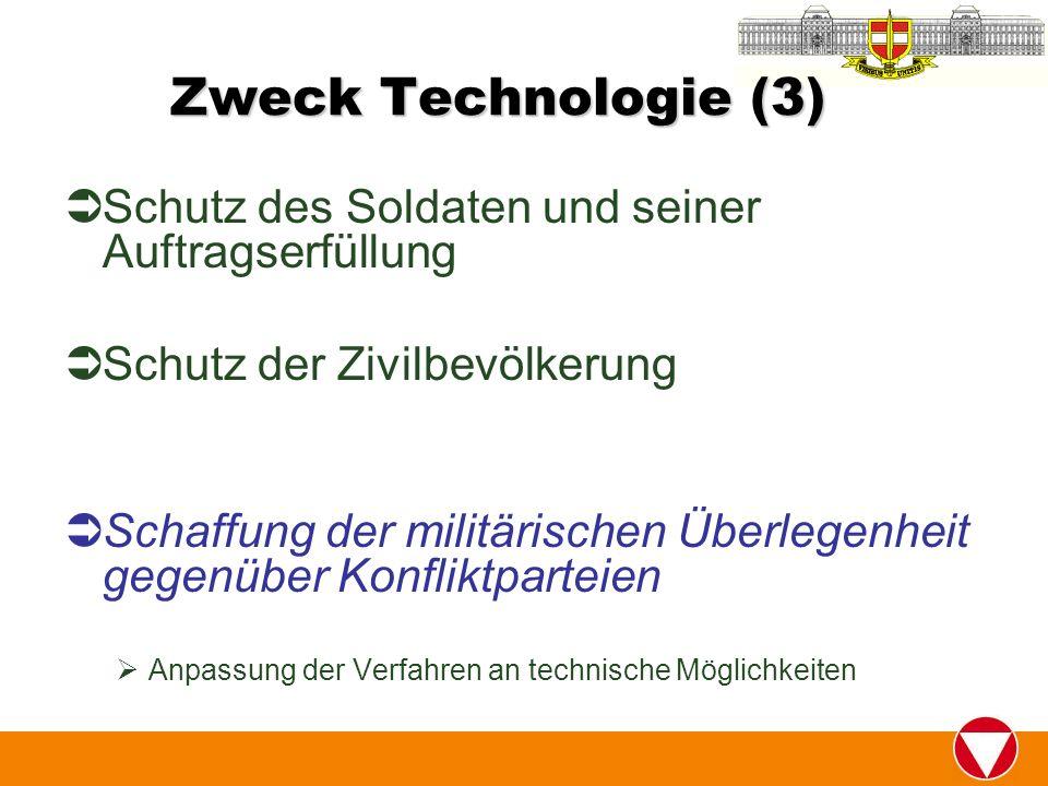 Zweck Technologie (3) Schutz des Soldaten und seiner Auftragserfüllung Schutz der Zivilbevölkerung Schaffung der militärischen Überlegenheit gegenüber