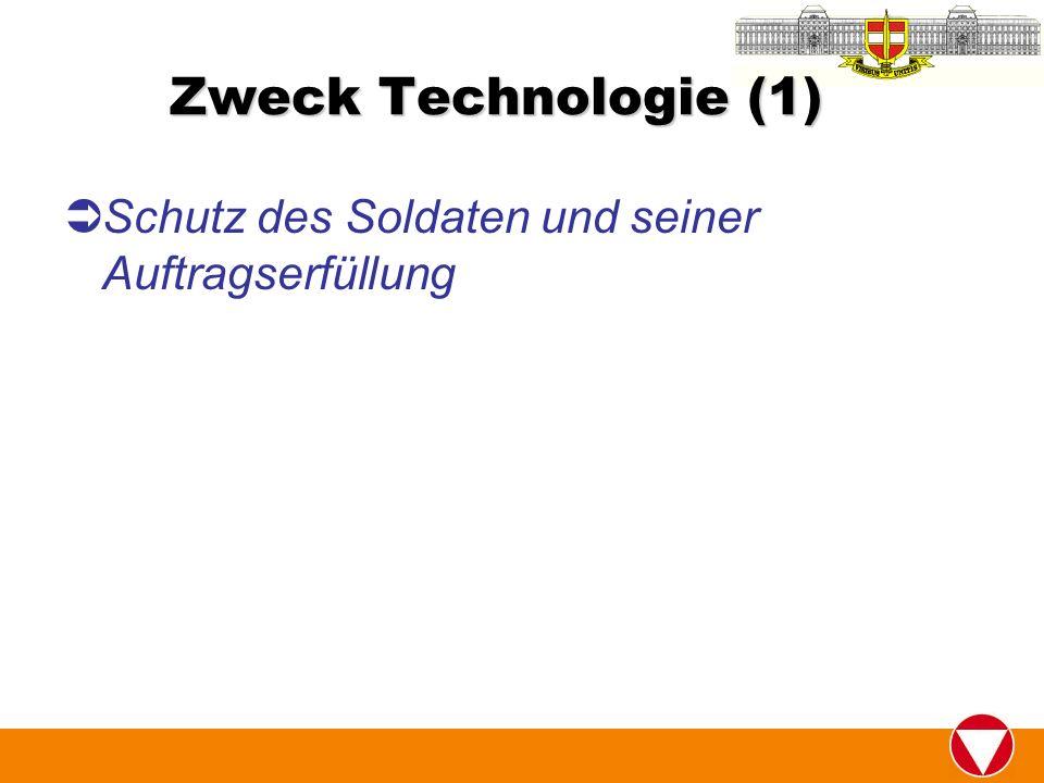 Zweck Technologie (1) Schutz des Soldaten und seiner Auftragserfüllung