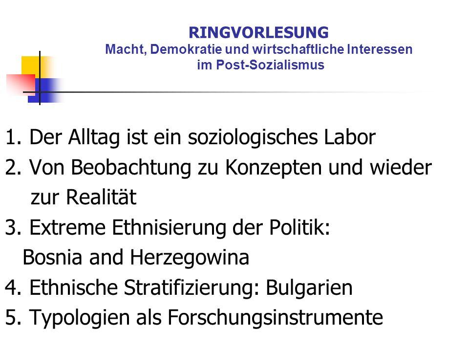 RINGVORLESUNG Macht, Demokratie und wirtschaftliche Interessen im Post-Sozialismus 1. Der Alltag ist ein soziologisches Labor 2. Von Beobachtung zu Ko
