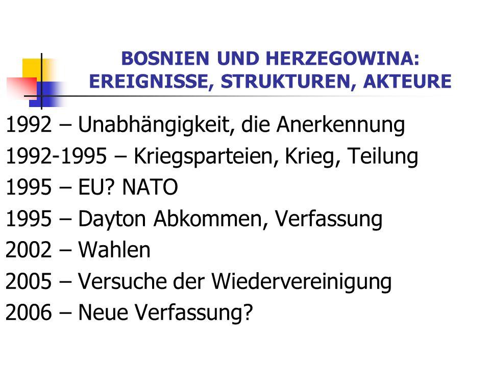 BOSNIEN UND HERZEGOWINA: EREIGNISSE, STRUKTUREN, AKTEURE 1992 – Unabhängigkeit, die Anerkennung 1992-1995 – Kriegsparteien, Krieg, Teilung 1995 – EU?