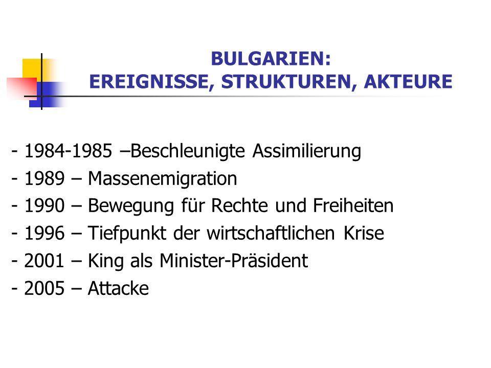 BULGARIEN: EREIGNISSE, STRUKTUREN, AKTEURE - 1984-1985 –Beschleunigte Assimilierung - 1989 – Massenemigration - 1990 – Bewegung für Rechte und Freihei