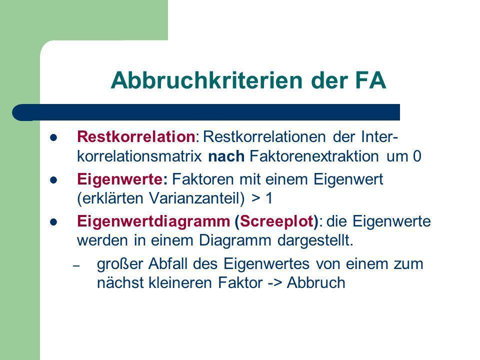 Abbruchkriterien der FA Restkorrelation: Restkorrelationen der Inter- korrelationsmatrix nach Faktorenextraktion um 0 Eigenwerte: Faktoren mit einem E