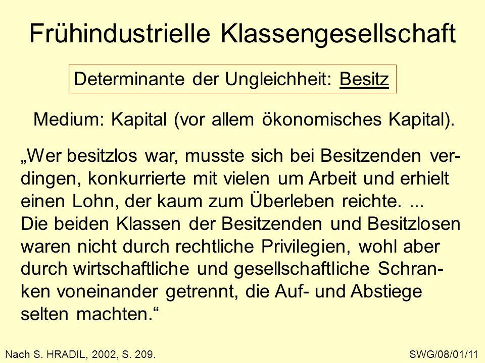 Frühindustrielle Klassengesellschaft SWG/08/01/11Nach S. HRADIL, 2002, S. 209. Determinante der Ungleichheit: Besitz Medium: Kapital (vor allem ökonom
