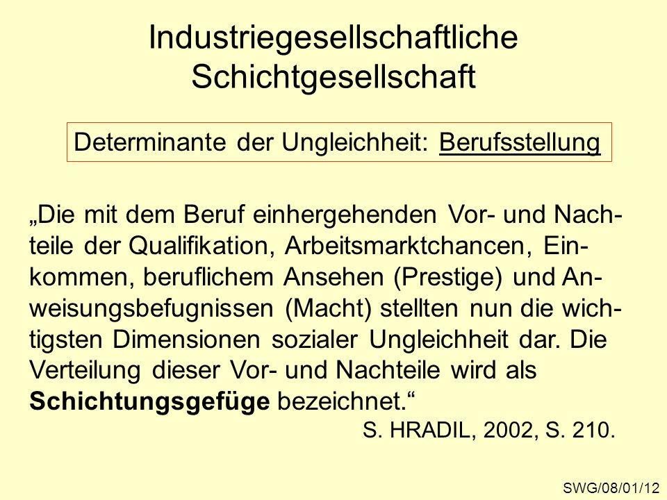 Industriegesellschaftliche Schichtgesellschaft SWG/08/01/12 Determinante der Ungleichheit: Berufsstellung Die mit dem Beruf einhergehenden Vor- und Na