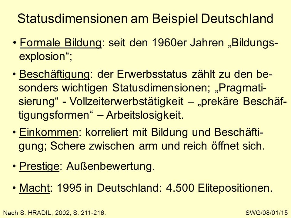 Statusdimensionen am Beispiel Deutschland SWG/08/01/15Nach S. HRADIL, 2002, S. 211-216. Formale Bildung: seit den 1960er Jahren Bildungs- explosion; B