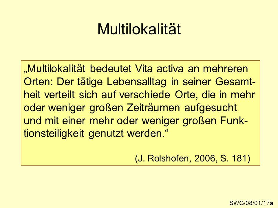 Multilokalität Multilokalität bedeutet Vita activa an mehreren Orten: Der tätige Lebensalltag in seiner Gesamt- heit verteilt sich auf verschiede Orte