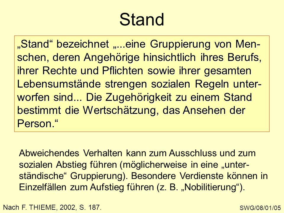 Stand SWG/08/01/05 Nach F. THIEME, 2002, S. 187. Stand bezeichnet...eine Gruppierung von Men- schen, deren Angehörige hinsichtlich ihres Berufs, ihrer