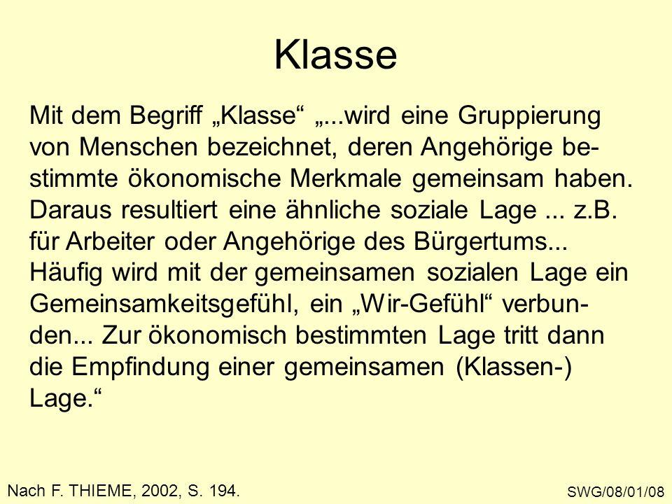 Klasse SWG/08/01/08 Nach F. THIEME, 2002, S. 194. Mit dem Begriff Klasse...wird eine Gruppierung von Menschen bezeichnet, deren Angehörige be- stimmte