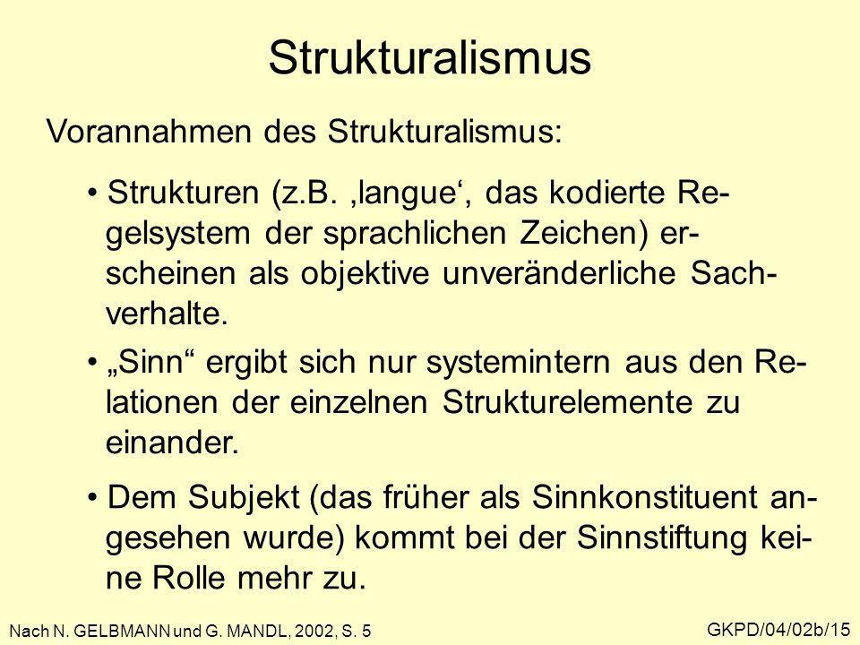 GKPD/04/02b/15 Strukturalismus Nach N. GELBMANN und G. MANDL, 2002, S. 5 Vorannahmen des Strukturalismus: Strukturen (z.B.,langue, das kodierte Re- ge
