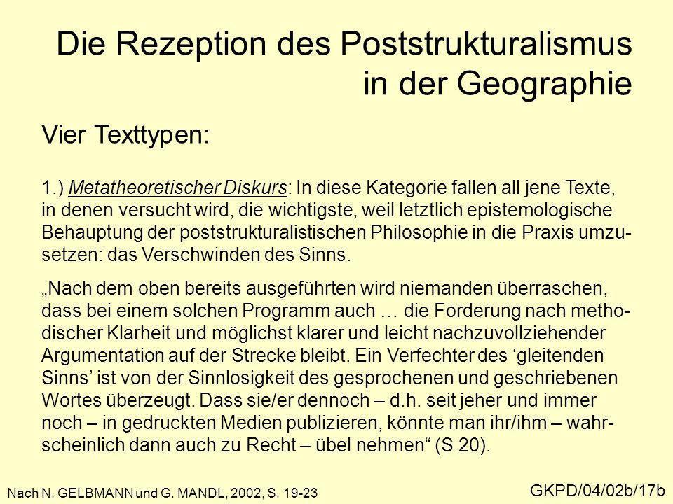 Die Rezeption des Poststrukturalismus in der Geographie GKPD/04/02b/17b Nach N. GELBMANN und G. MANDL, 2002, S. 19-23 Vier Texttypen: 1.) Metatheoreti