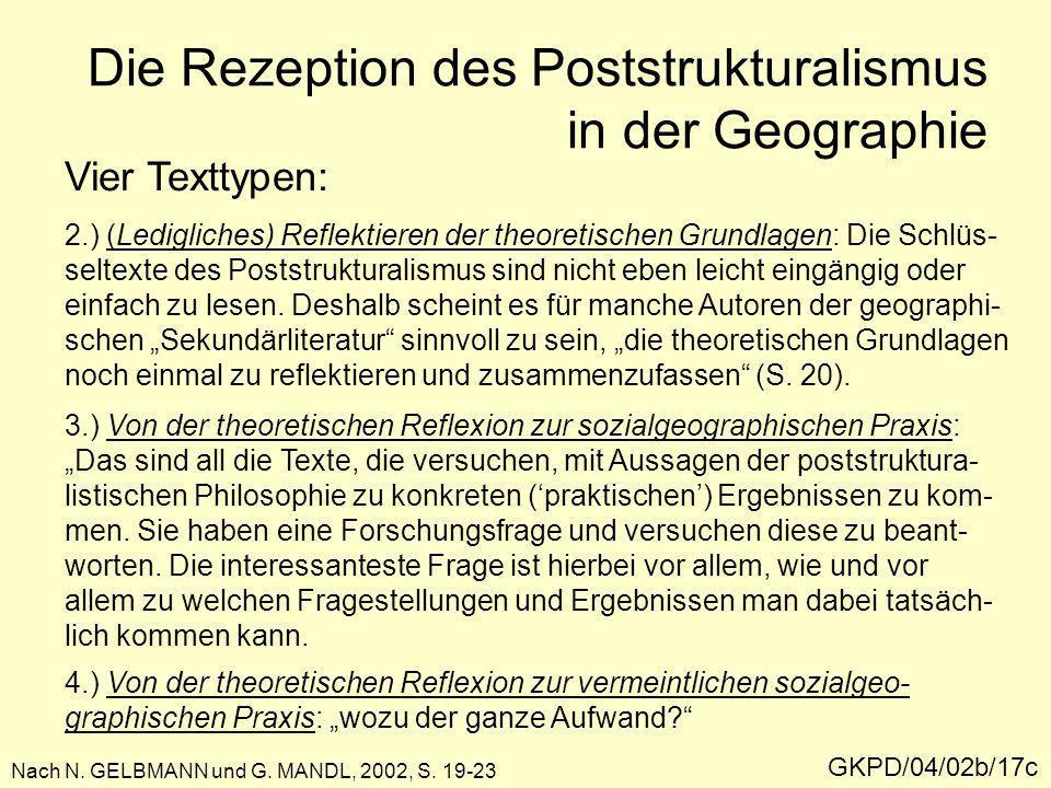 Die Rezeption des Poststrukturalismus in der Geographie GKPD/04/02b/17c Nach N. GELBMANN und G. MANDL, 2002, S. 19-23 Vier Texttypen: 2.) (Ledigliches