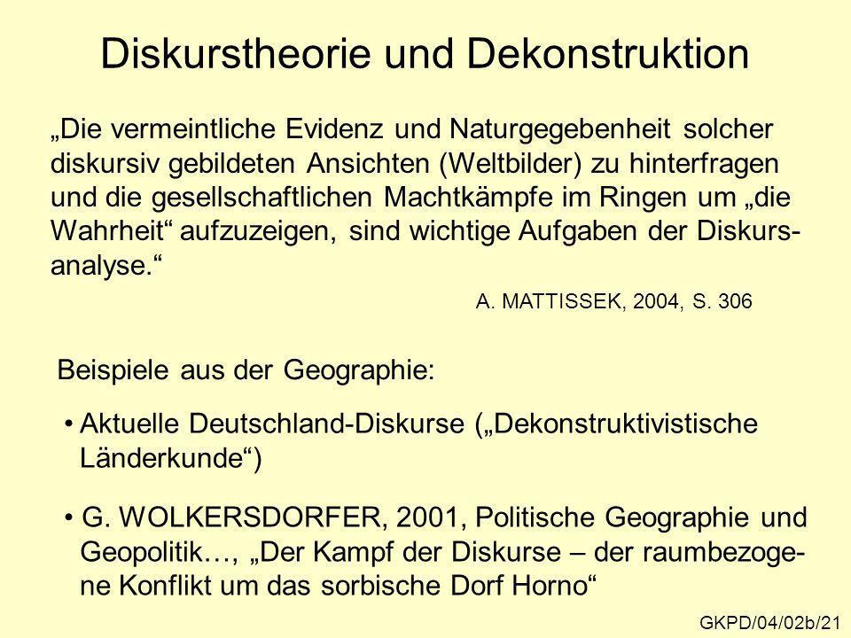 Diskurstheorie und Dekonstruktion GKPD/04/02b/21 Die vermeintliche Evidenz und Naturgegebenheit solcher diskursiv gebildeten Ansichten (Weltbilder) zu