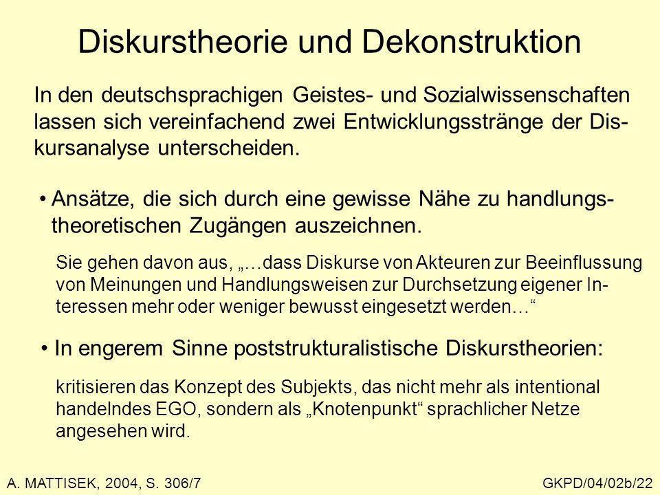 GKPD/04/02b/22 Diskurstheorie und Dekonstruktion In den deutschsprachigen Geistes- und Sozialwissenschaften lassen sich vereinfachend zwei Entwicklung