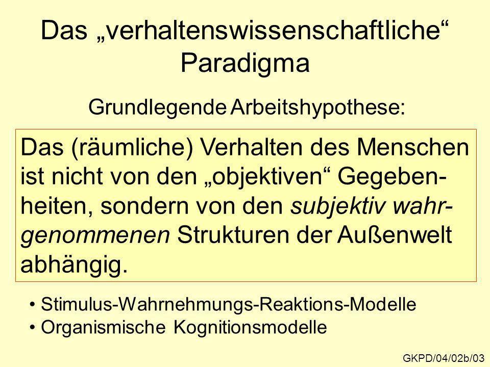 GKPD/04/02b/03 Grundlegende Arbeitshypothese: Das (räumliche) Verhalten des Menschen ist nicht von den objektiven Gegeben- heiten, sondern von den sub