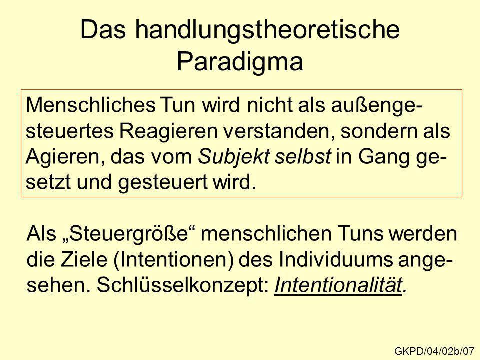 Das handlungstheoretische Paradigma GKPD/04/02b/07 Menschliches Tun wird nicht als außenge- steuertes Reagieren verstanden, sondern als Agieren, das v