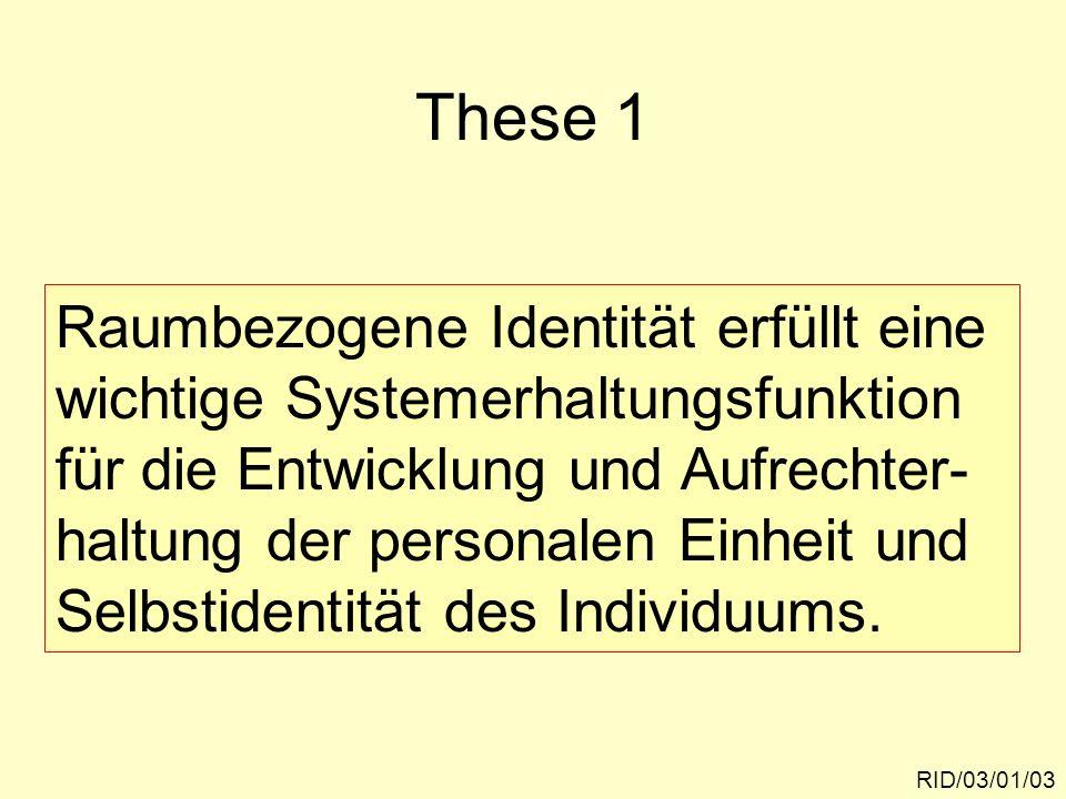 Begründung: RID/03/01/04 Raumbezogene Identität leistet einen Beitrag zur Entstehung psychischer Sicherheit der Umwelterfahrung.