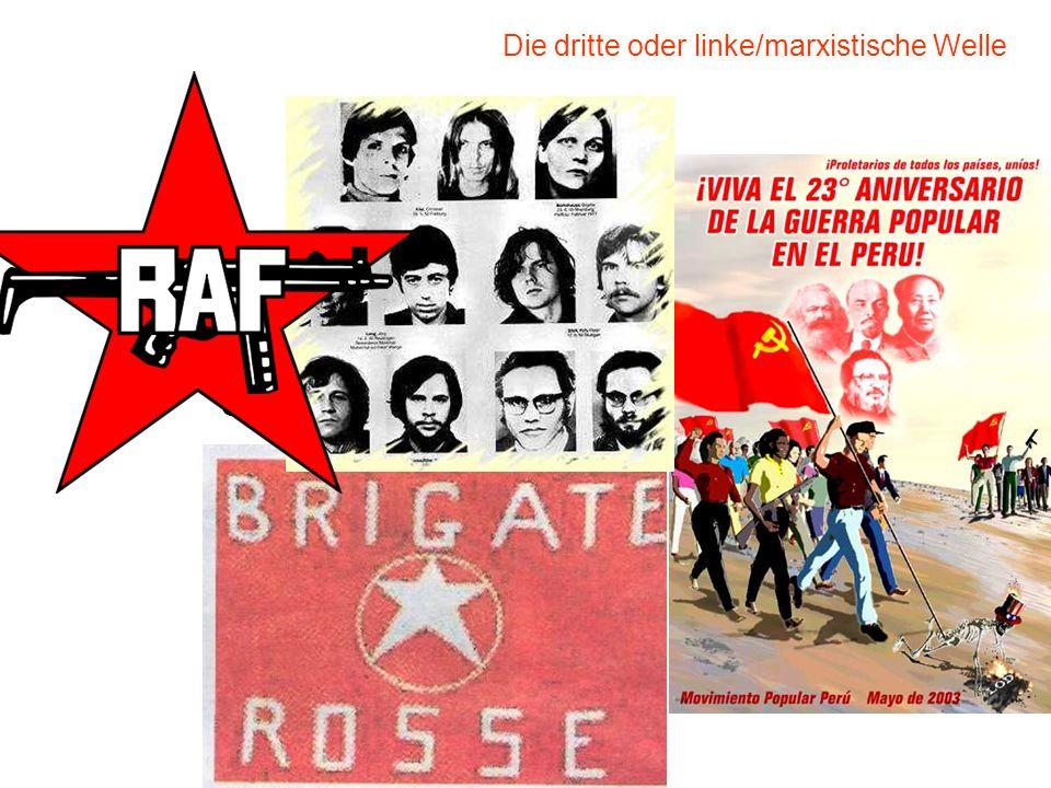 klassische / idealtypische Terrorismus Gründerzeit zwischen 1965 – 1975 Sehr selektive Anschläge (Personen – Symbolorte) Der interessierte Dritte ist