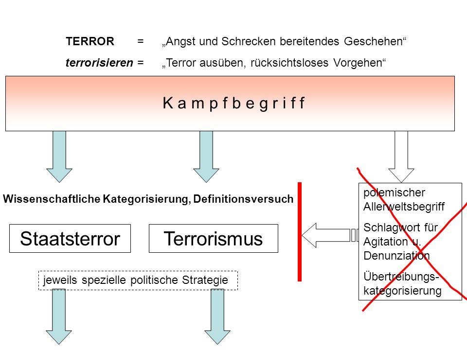 TERROR = Angst und Schrecken bereitendes Geschehen terrorisieren = Terror ausüben, rücksichtsloses Vorgehen K a m p f b e g r i f f Terrorismus polemi