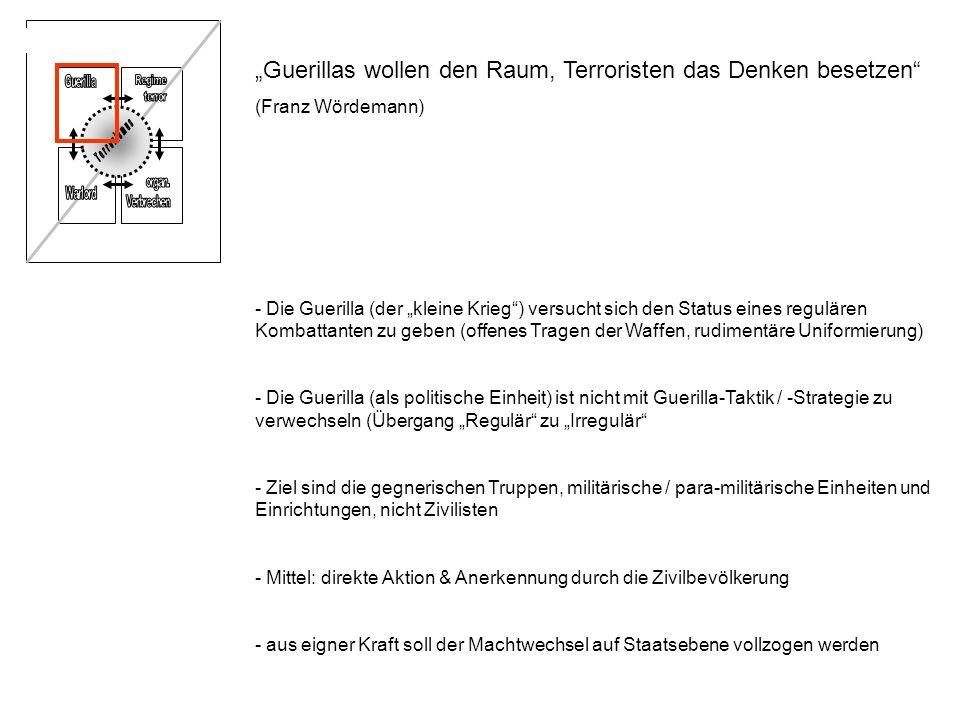 Guerillas wollen den Raum, Terroristen das Denken besetzen (Franz Wördemann) - Die Guerilla (der kleine Krieg) versucht sich den Status eines reguläre