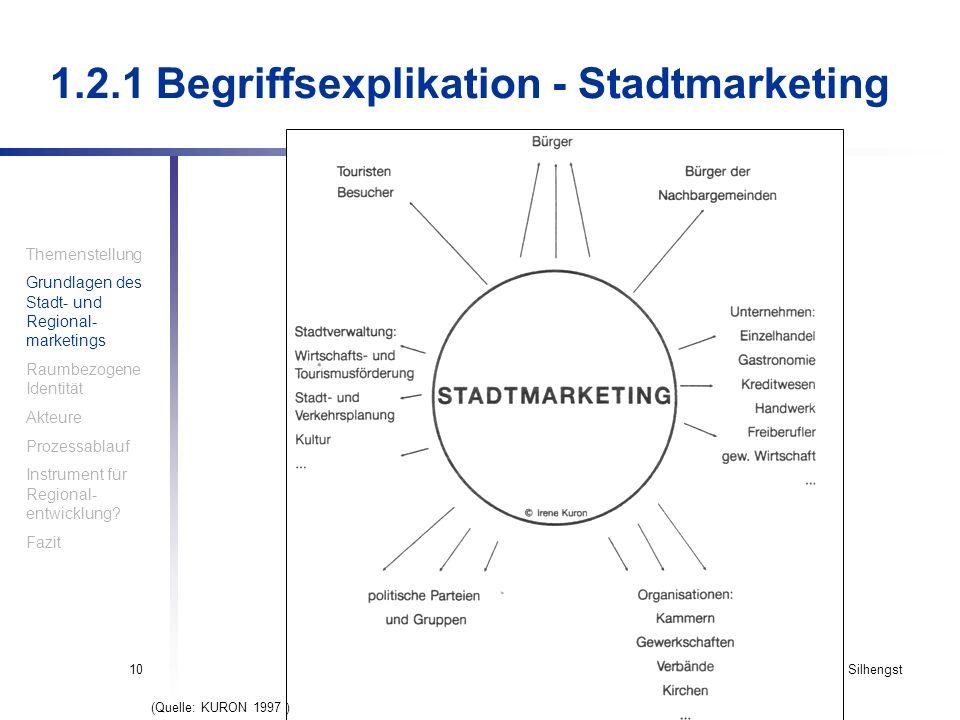 Haindl, Krompholtz, Silhengst10 1.2.1 Begriffsexplikation - Stadtmarketing Themenstellung Grundlagen des Stadt- und Regional- marketings Raumbezogene