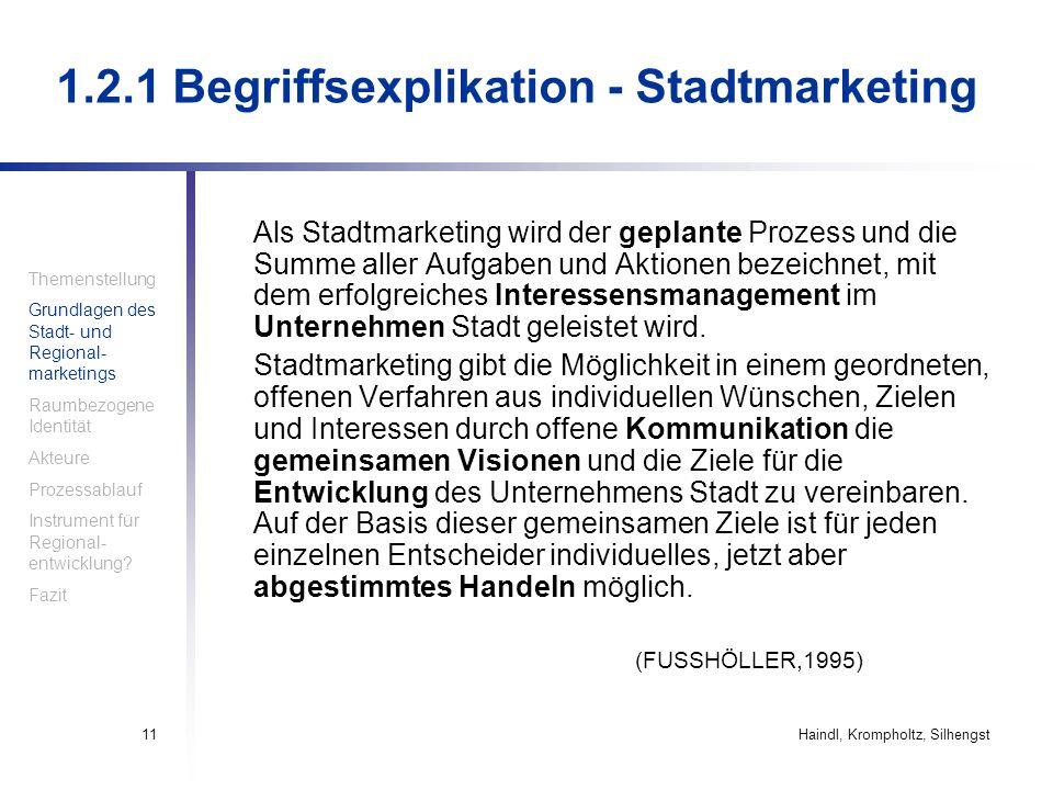 Haindl, Krompholtz, Silhengst11 Als Stadtmarketing wird der geplante Prozess und die Summe aller Aufgaben und Aktionen bezeichnet, mit dem erfolgreich