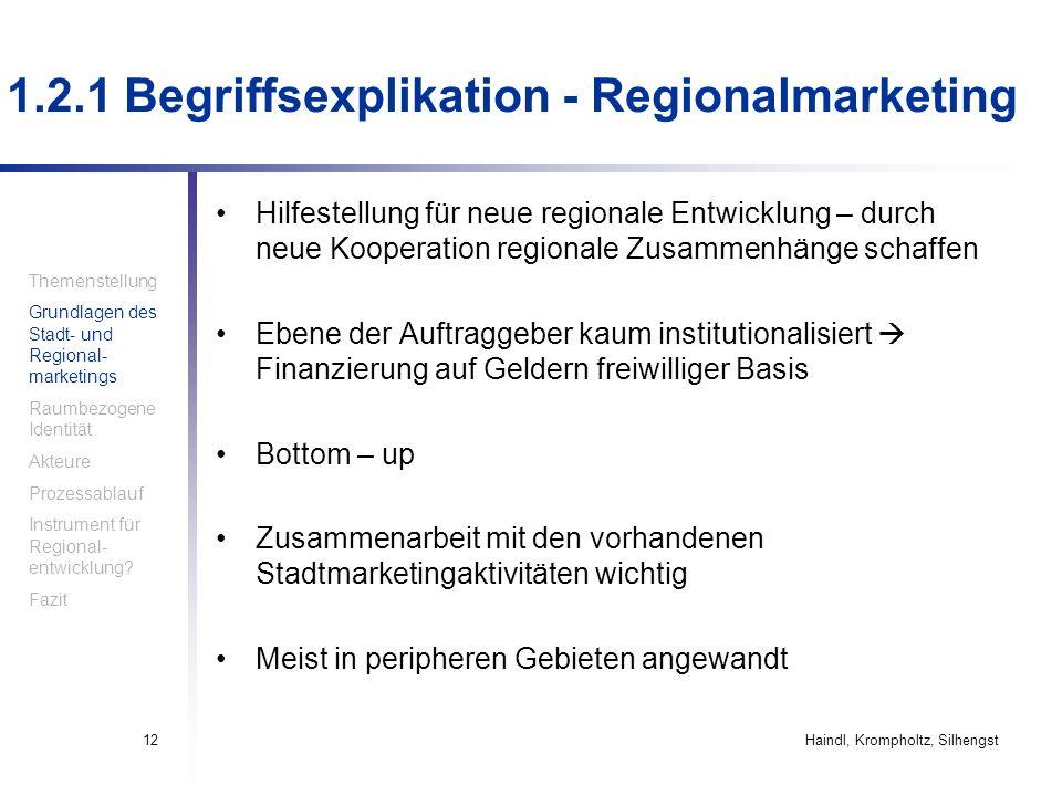 Haindl, Krompholtz, Silhengst12 Hilfestellung für neue regionale Entwicklung – durch neue Kooperation regionale Zusammenhänge schaffen Ebene der Auftr