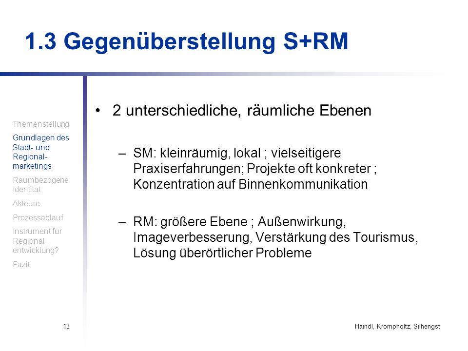 Haindl, Krompholtz, Silhengst13 1.3 Gegenüberstellung S+RM 2 unterschiedliche, räumliche Ebenen –SM: kleinräumig, lokal ; vielseitigere Praxiserfahrun