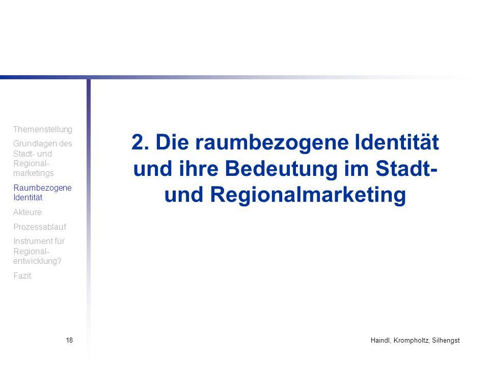 Haindl, Krompholtz, Silhengst18 2. Die raumbezogene Identität und ihre Bedeutung im Stadt- und Regionalmarketing Themenstellung Grundlagen des Stadt-