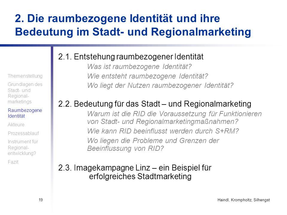 Haindl, Krompholtz, Silhengst19 2.1. Entstehung raumbezogener Identität Was ist raumbezogene Identität? Wie entsteht raumbezogene Identität? Wo liegt