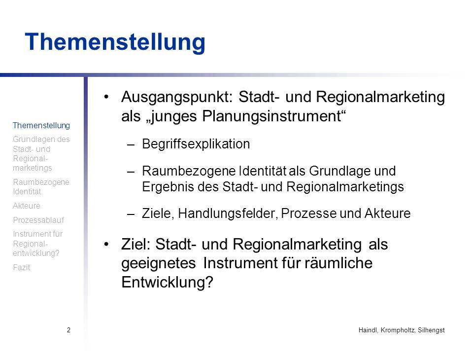 Haindl, Krompholtz, Silhengst2 Themenstellung Ausgangspunkt: Stadt- und Regionalmarketing als junges Planungsinstrument –Begriffsexplikation –Raumbezo