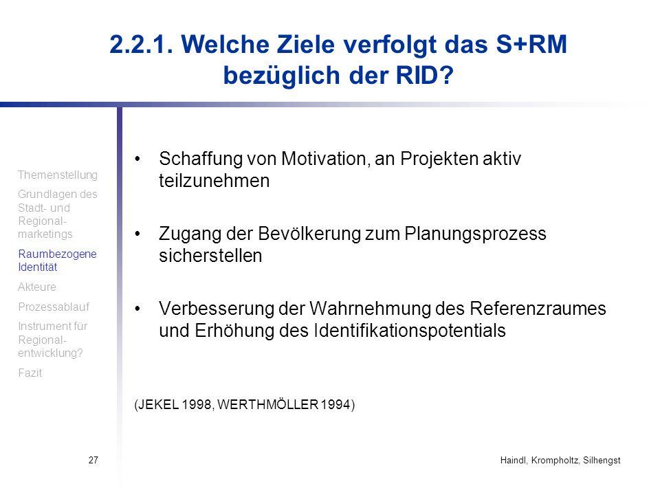Haindl, Krompholtz, Silhengst27 Schaffung von Motivation, an Projekten aktiv teilzunehmen Zugang der Bevölkerung zum Planungsprozess sicherstellen Ver