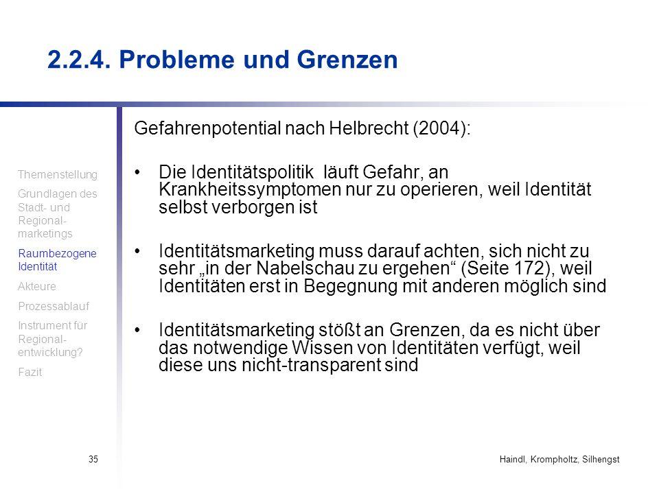 Haindl, Krompholtz, Silhengst35 Gefahrenpotential nach Helbrecht (2004): Die Identitätspolitik läuft Gefahr, an Krankheitssymptomen nur zu operieren,