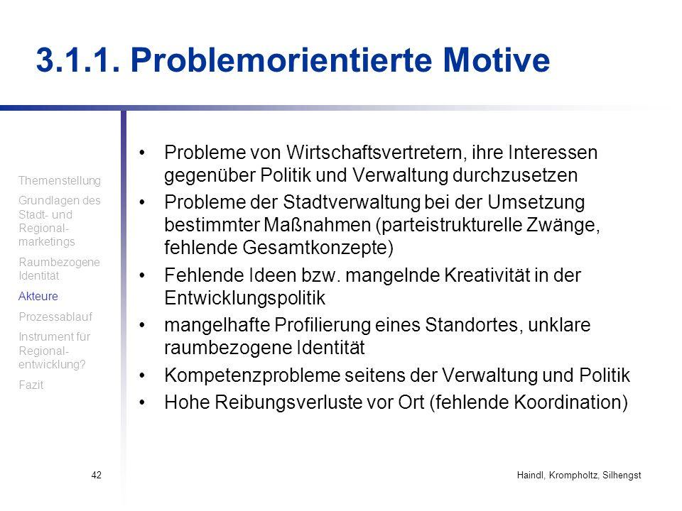 Haindl, Krompholtz, Silhengst42 3.1.1. Problemorientierte Motive Probleme von Wirtschaftsvertretern, ihre Interessen gegenüber Politik und Verwaltung