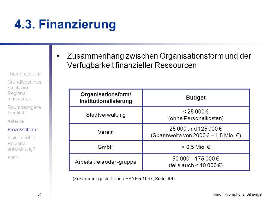 Haindl, Krompholtz, Silhengst54 4.3. Finanzierung Zusammenhang zwischen Organisationsform und der Verfügbarkeit finanzieller Ressourcen Organisationsf