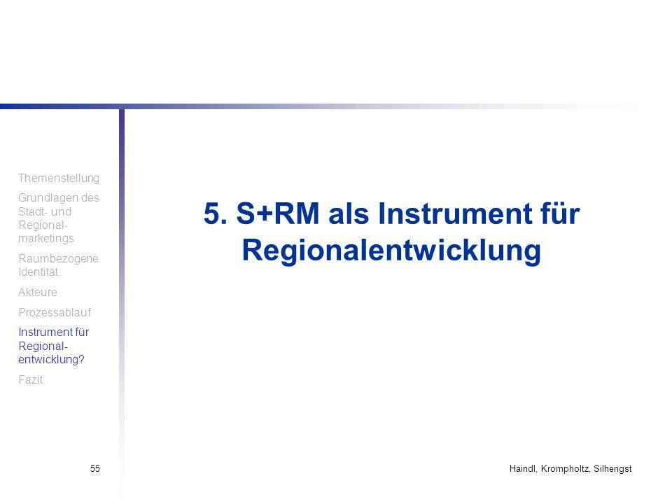 Haindl, Krompholtz, Silhengst55 5. S+RM als Instrument für Regionalentwicklung Themenstellung Grundlagen des Stadt- und Regional- marketings Raumbezog
