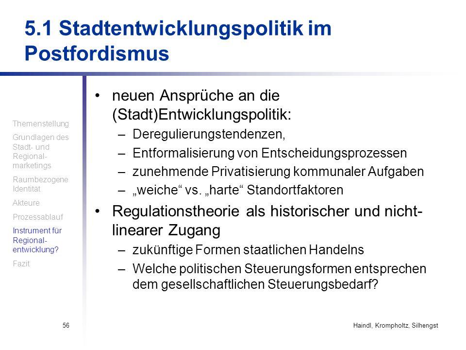 Haindl, Krompholtz, Silhengst56 5.1 Stadtentwicklungspolitik im Postfordismus neuen Ansprüche an die (Stadt)Entwicklungspolitik: –Deregulierungstenden