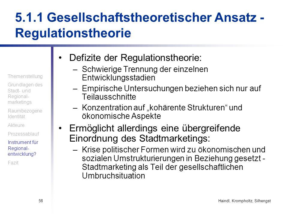 Haindl, Krompholtz, Silhengst58 5.1.1 Gesellschaftstheoretischer Ansatz - Regulationstheorie Defizite der Regulationstheorie: –Schwierige Trennung der