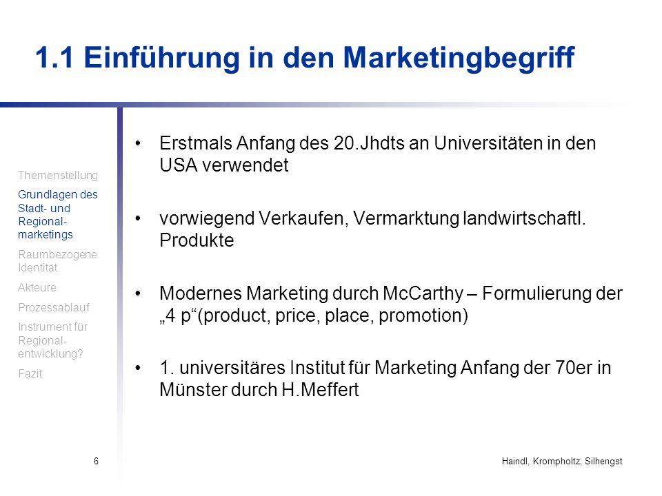 Haindl, Krompholtz, Silhengst6 1.1 Einführung in den Marketingbegriff Erstmals Anfang des 20.Jhdts an Universitäten in den USA verwendet vorwiegend Ve