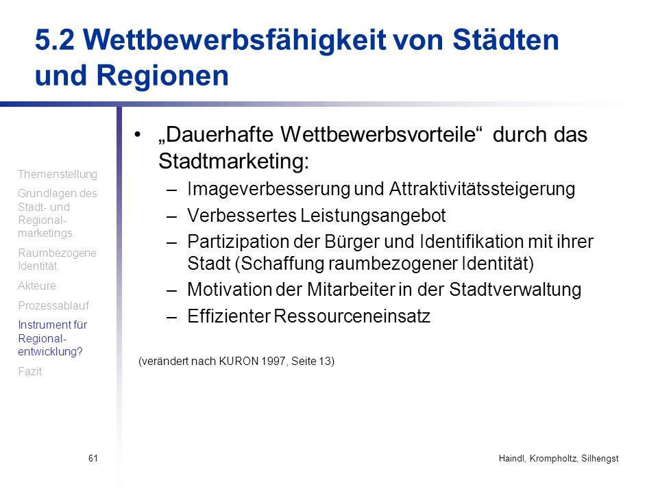 Haindl, Krompholtz, Silhengst61 5.2 Wettbewerbsfähigkeit von Städten und Regionen Dauerhafte Wettbewerbsvorteile durch das Stadtmarketing: –Imageverbe