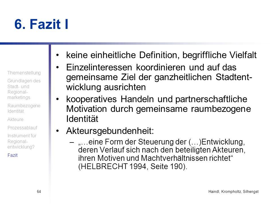 Haindl, Krompholtz, Silhengst64 6. Fazit I keine einheitliche Definition, begriffliche Vielfalt Einzelinteressen koordinieren und auf das gemeinsame Z