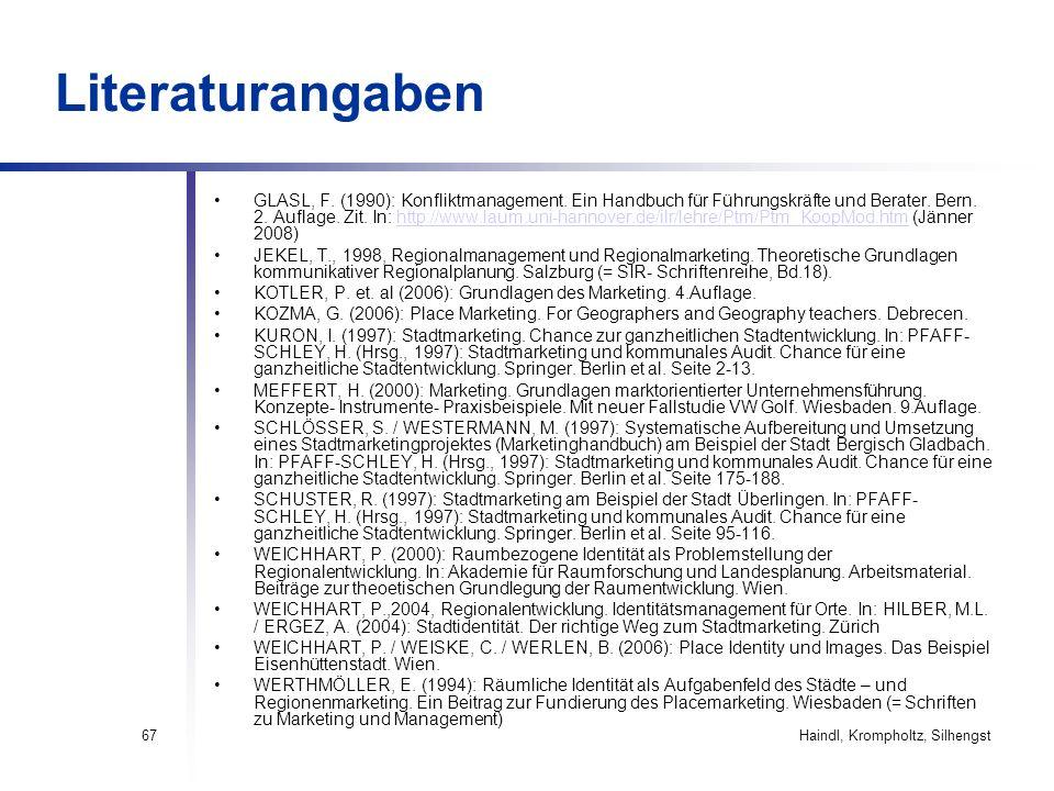 Haindl, Krompholtz, Silhengst67 Literaturangaben GLASL, F. (1990): Konfliktmanagement. Ein Handbuch für Führungskräfte und Berater. Bern. 2. Auflage.