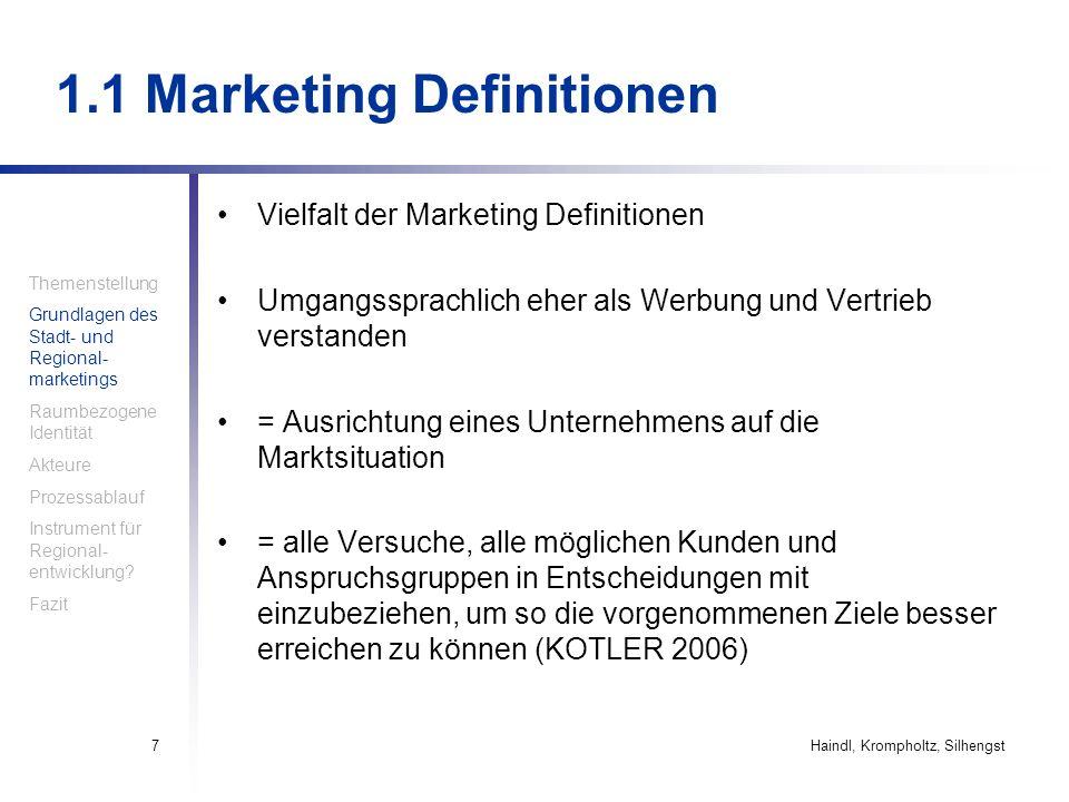 Haindl, Krompholtz, Silhengst7 1.1 Marketing Definitionen Vielfalt der Marketing Definitionen Umgangssprachlich eher als Werbung und Vertrieb verstand