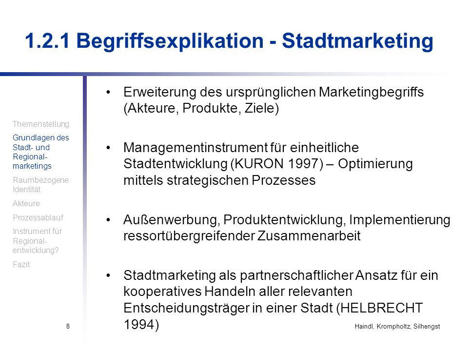 Haindl, Krompholtz, Silhengst59 5.2 Wettbewerbsfähigkeit von Städten und Regionen Ziel des Stadt- und Regionalmarketings: –the competitiveness of places – localities, regions and nations – refers to the ability of the local economy and society to provide an increasing standard of living for its inhabitants (MALECKI 2000, zitiert in KOZMA 2006, Seite 15).